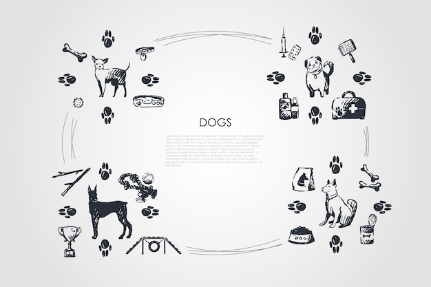 Illustrazione stabilita di concetto di cani