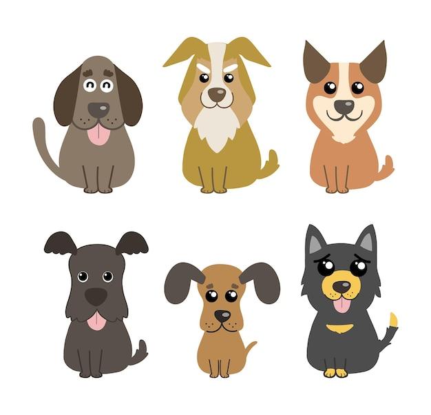 Cani carino insieme vettoriale animali domestici