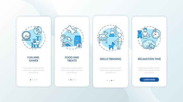 Servizi di campo diurno per cani onboarding schermata della pagina dell'app mobile con concetti
