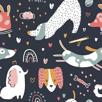 Modello senza cuciture di cani simpatici animali in semplice stile cartone animato vivaio
