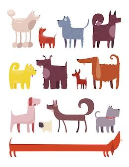 Set di cani. illustrazione del fumetto di diversi cani divertenti