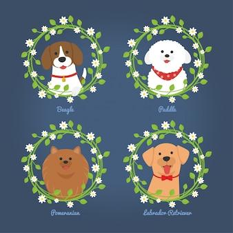 Cani con cornice di fiori