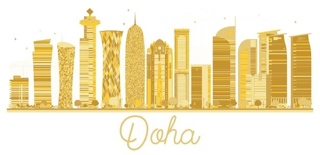 Siluetta dorata dell'orizzonte della città di doha. illustrazione vettoriale. paesaggio urbano di doha con punti di riferimento isolati su sfondo bianco.
