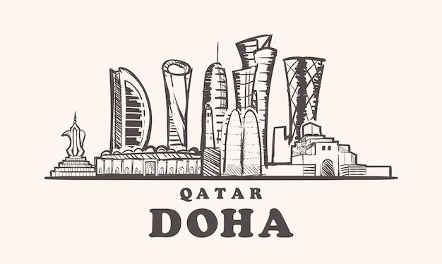 Paesaggio urbano di doha, in qatar Vettore Premium
