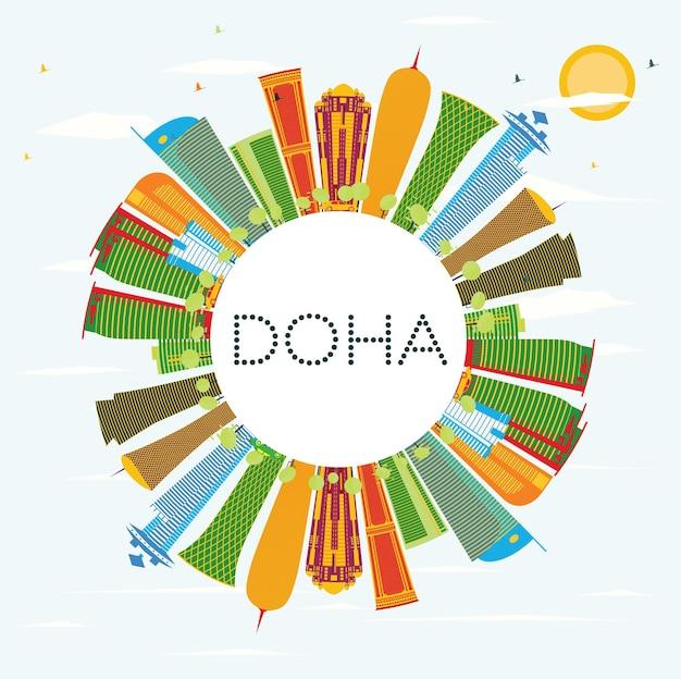 Skyline di doha con edifici di colore, cielo blu e spazio di copia. illustrazione di vettore. viaggi d'affari e concetto di turismo. immagine per presentazione banner cartellone e sito web.