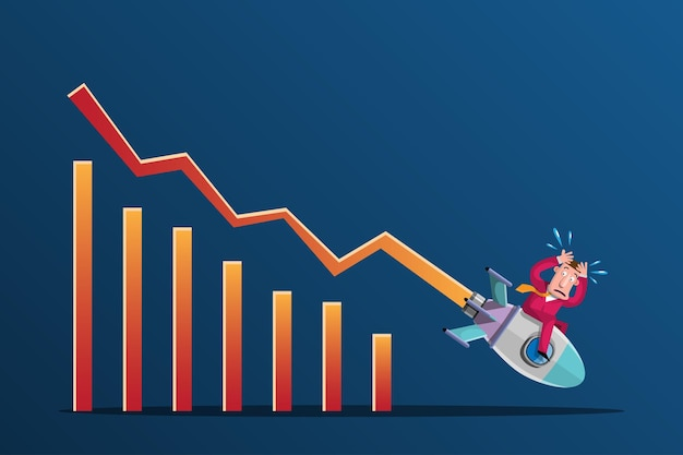 Fare affari con idee fallimentari è come avere un razzo mirato alla discesa del grafico in modo chiaro e rapido. illustrazione in stile 3d