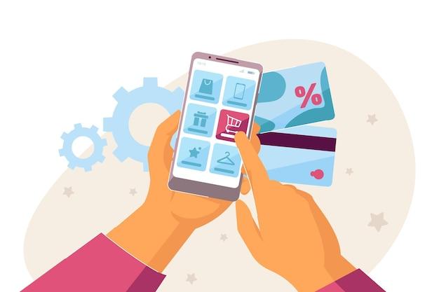 Fare acquisti online con smartphone e carte di credito. illustrazione vettoriale piatto. due mani che tengono un dispositivo elettronico con app di servizio per l'acquisto di prodotti. e-e-commerce, concetto di tecnologia moderna