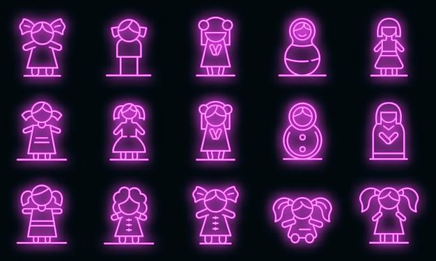 Set di icone di bambola. contorno set di icone vettoriali bambola colore neon su nero