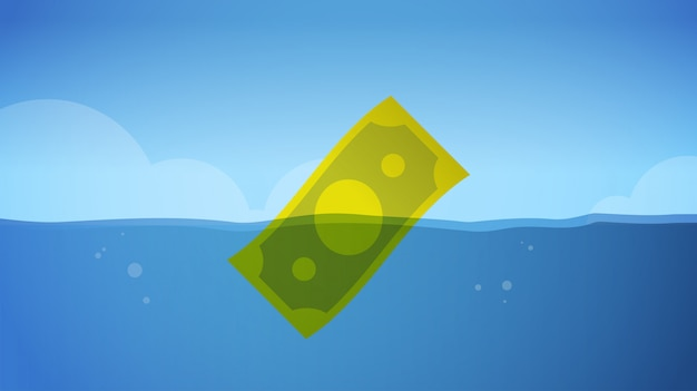 Banconota del dollaro che affonda nell'orizzontale globale di concetto di fallimento di fallimento di affari di simbolo di crisi finanziaria economica dell'acqua