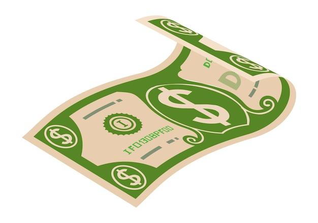 Icona della banconota da un dollaro. denaro contante. banconota di carta piegata.