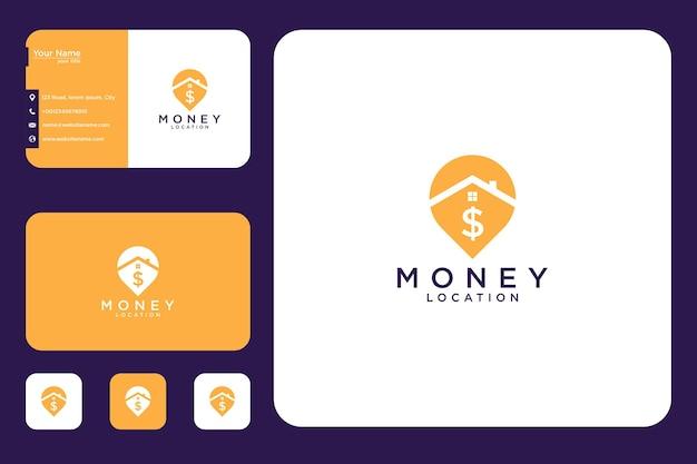 Design del logo e biglietto da visita della posizione della banconota da un dollaro