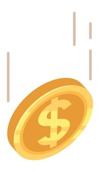 Moneta del dollaro che cade. goccia d'oro dei soldi. illustrazione vettoriale.