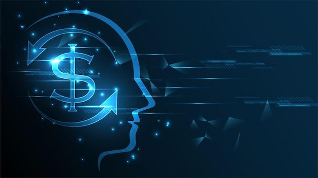 Dollaro moneta valuta denaro su sfondo techn testa umana. concetto di scambio di denaro di finanza aziendale.