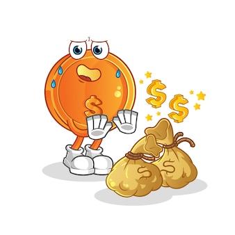 Moneta da un dollaro con illustrazione dei soldi