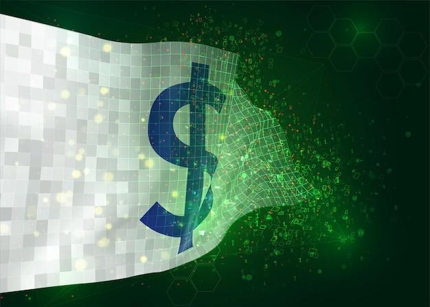 Valuta del dollaro sul vettore 3d bandiera su sfondo verde con poligoni e numeri di dati