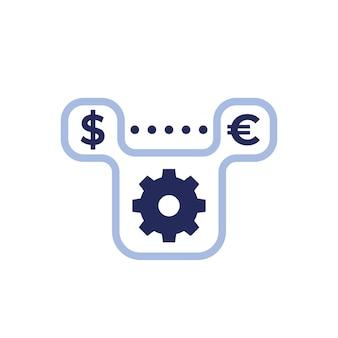 Icona di cambio dollaro in euro con ingranaggio