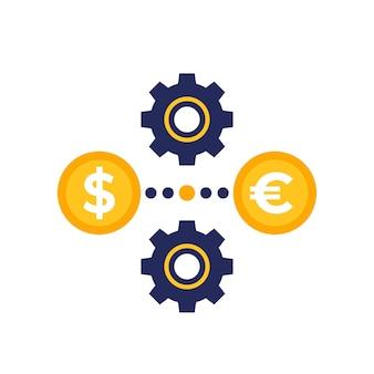 Icona di cambio dollaro in euro con ingranaggi