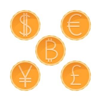 Dollaro, euro, yen, sterlina, monete d'oro bitcoin, valute diverse, illustrazione vettoriale di denaro