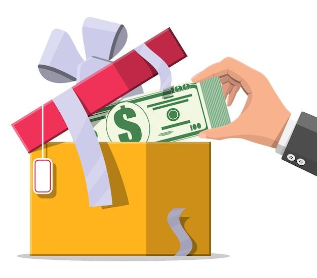 Monete dei soldi del dollaro che escono dalla confezione regalo. programma bonus, punti premio. crescita, reddito, risparmio, investimento. simbolo di ricchezza. successo aziendale, bonus o premio. illustrazione vettoriale di stile piatto
