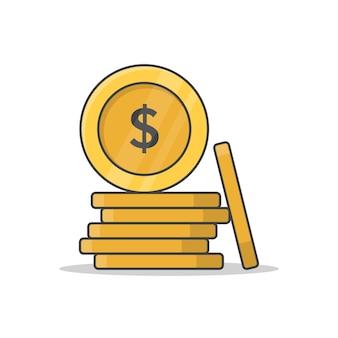 Monete dei soldi del dollaro isolate su bianco
