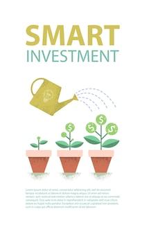 Pianta del dollaro nella pentola e annaffiatoio. concetto di crescita finanziaria. investimento intelligente. illustrazione.