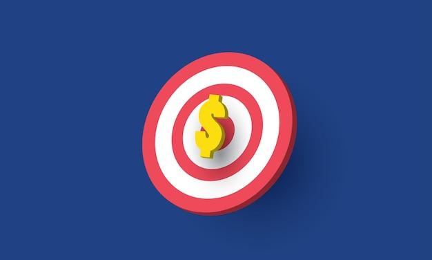 Simbolo del dollaro sull'obiettivo affari di successo concetto di ispirazione business