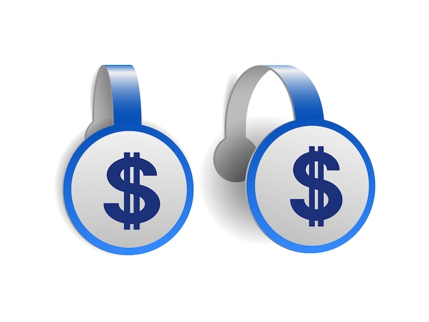Simbolo del dollaro con due linee verticali sui wobblers pubblicitari blu. disegno dell'illustrazione del segno di valuta di cifrano sull'etichetta del banner. simbolo dell'unità monetaria.