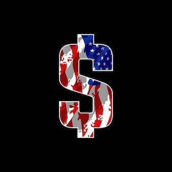 Dollaro con bandiera america illustrazione disegno vettoriale
