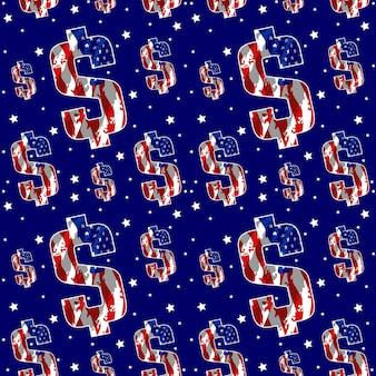 Dollaro con bandiera america modello senza cuciture disegno vettoriale