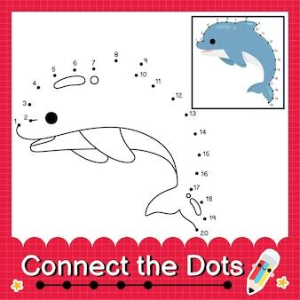 Il puzzle per bambini dolphin collega il foglio di lavoro dei punti per i bambini che contano i numeri da 1 a 20