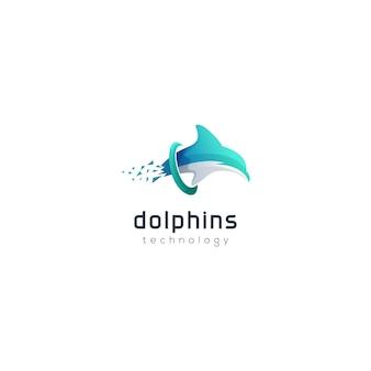 Modello di logo tecnologia gradiente logo dolphin