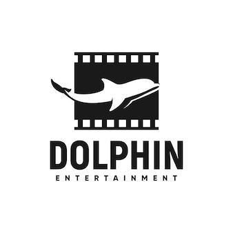 Delfino logo ispirazione striscia di pellicola cinema animale unico