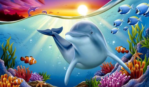 Delfino che gioca alla barriera corallina