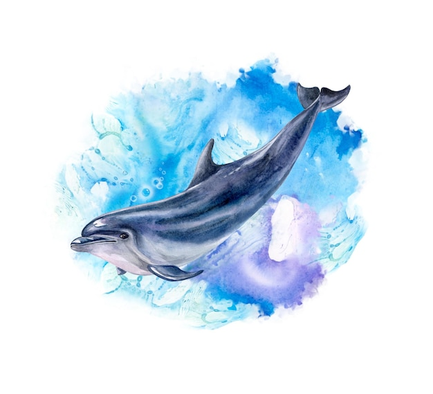 Modello di illustrazione dell'acquerello di un delfino realistico e astratto dell'onda marina