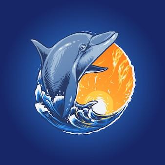 Il delfino nell'illustrazione del mare