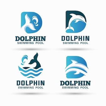 Pacchetto di design del logo della piscina dei delfini e logo della lettera d