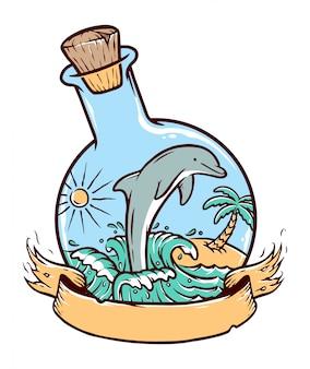 Delfini in un'illustrazione della bottiglia di vetro