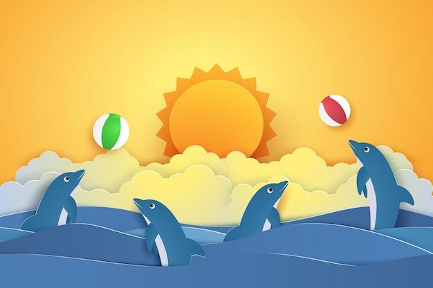 Delfini che giocano con la palla per il concetto di ora legale in stile arte cartacea