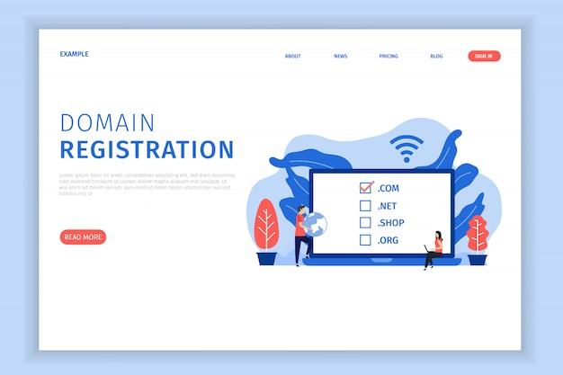 Illustrazione della pagina di destinazione della registrazione del dominio