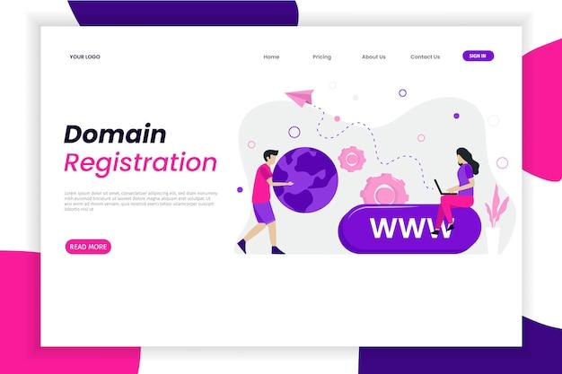 Modello di pagina di destinazione della registrazione del dominio con carattere