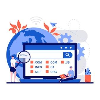 Il concetto di pagina web di registrazione del dominio con carattere di persone minuscole sceglie