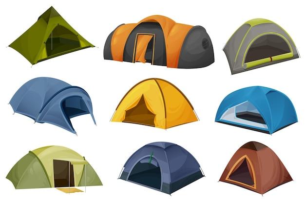 Cupola e tunnel icone tenda da campeggio