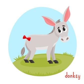 Animale domestico in stile cartone animato. illustrazione vettoriale di asino su bianco.