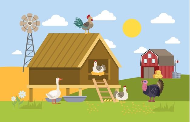 Uccelli domestici nella fattoria. anatra, gallina e tacchino nel villaggio. paesaggio estivo. illustrazione