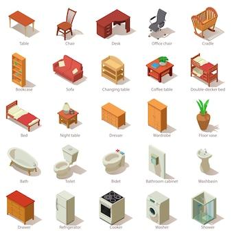 Set di icone di mobili domestici. un'illustrazione isometrica di 25 icone domestiche di vettore della mobilia per il web