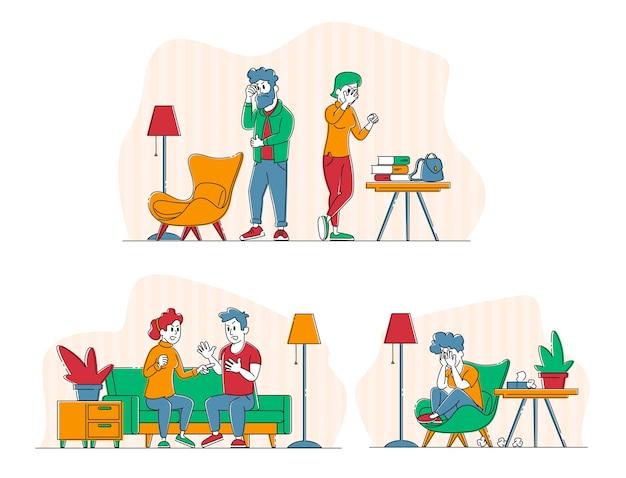 Violenza domestica e concetto di abuso coniugale. giovane famiglia litiga e giura in soggiorno.
