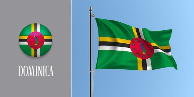 Dominica sventolando bandiera sul pennone e icona rotonda illustrazione vettoriale. mockup 3d realistico con design della bandiera dominicana e pulsante cerchio