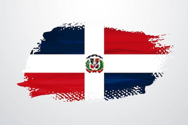 Bandiera della repubblica dominicana con vernice a pennello