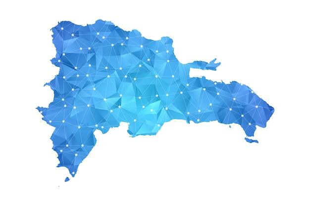 La linea della mappa della repubblica dominicana punti geometrici astratti poligonali.
