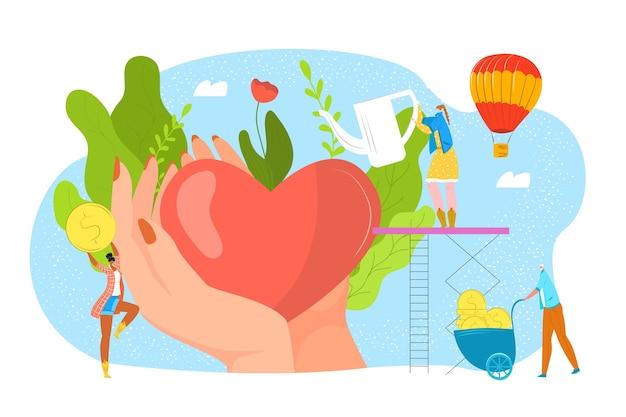 Dona sangue, beneficenza, concetto di filantrofia per la giornata del donatore, aiuta e salva l'illustrazione della vita. cuore in mani amorevoli, donazioni e denaro, sostegno alla comunità. volontariato e trasfusione di sangue.